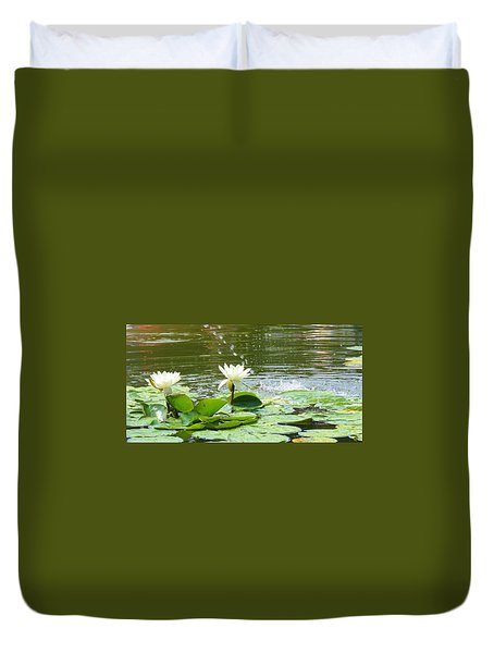 2 White Water Lilies Duvet Cover
