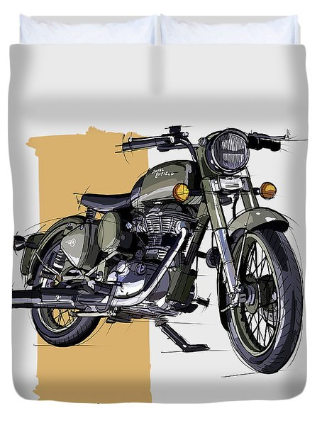 2012 Royal Enfield Bullet C5 Military Battle Green Desert Storm Duvet Cover