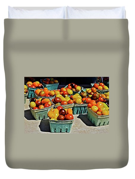Duvet Cover featuring the photograph 2017 Monona Farmers' Market Heirloom Cherry Tomatoes by Janis Nussbaum Senungetuk