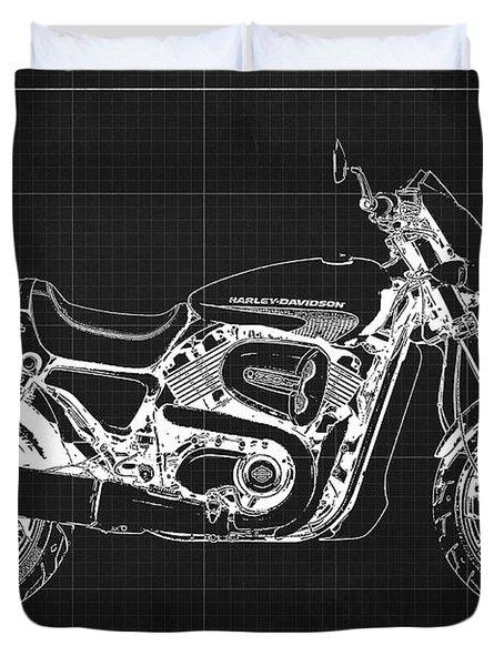 2018 Harley Davidson Street Rod, Vintage Dark Grey Background Duvet Cover