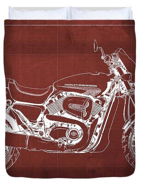 2018 Harley Davidson Street Rod, Vintage Red Background Duvet Cover