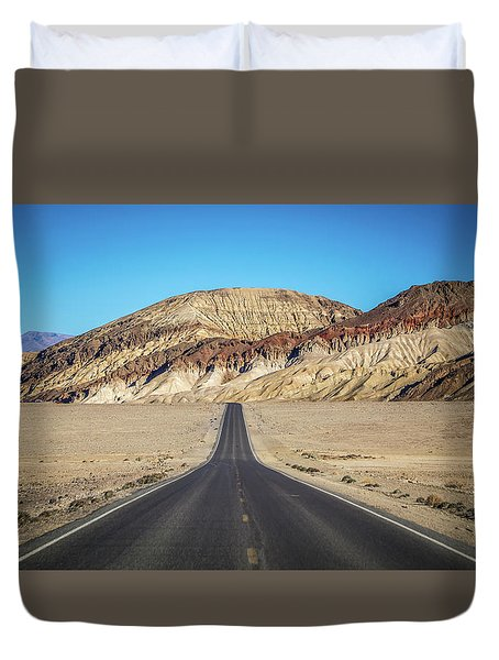 Duvet Cover featuring the photograph Lonely Road In Death Valley National Park In California by Alex Grichenko