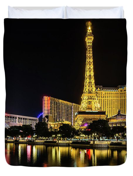 Duvet Cover featuring the photograph Nigh Life And City Skyline In Las Vegas Nevada by Alex Grichenko