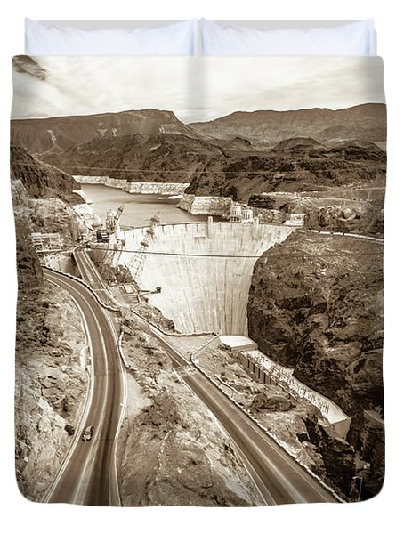 Duvet Cover featuring the photograph Wandering Around Hoover Dam On Lake Mead In Nevada And Arizona by Alex Grichenko