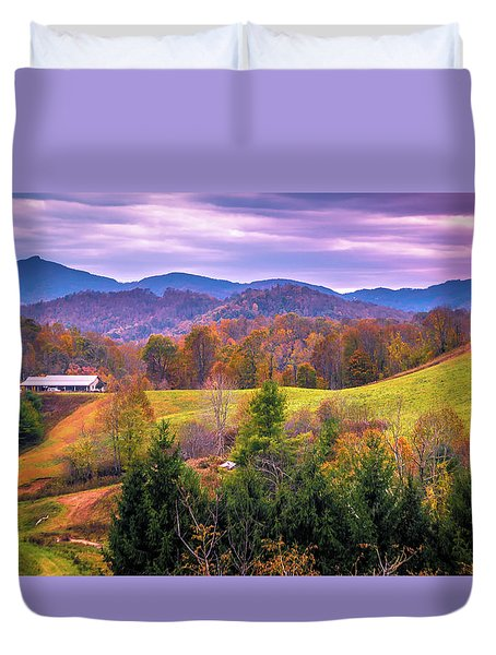 Duvet Cover featuring the photograph Autumn Season And Sunset Over Boone North Carolina Landscapes by Alex Grichenko