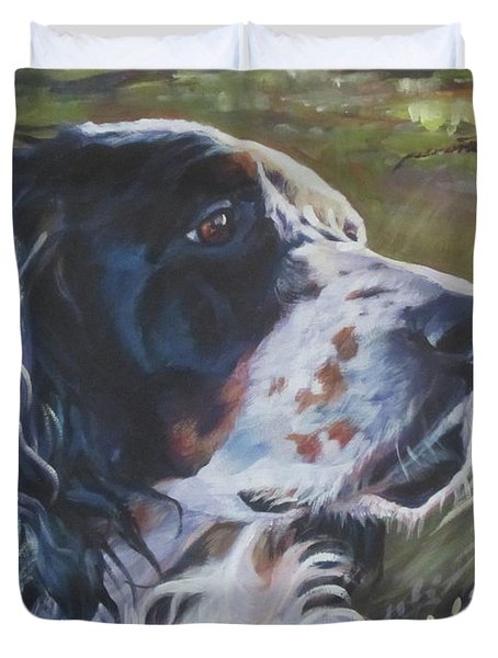 English Setter In The Field Duvet Cover