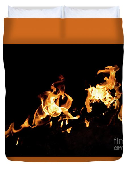 Flames In The Fire Of A Red And Yellow Barbecue. Duvet Cover