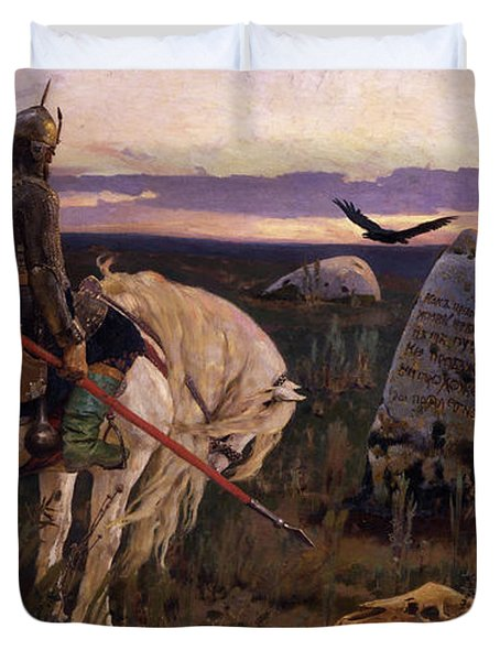 Knight At The Crossroads Duvet Cover