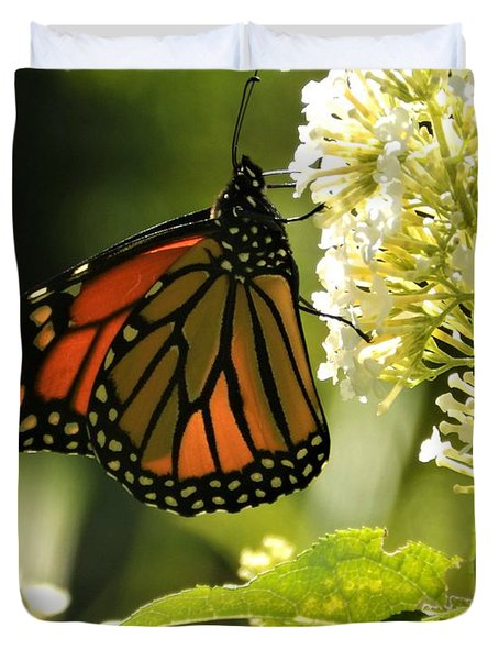 M White Flowers Collection No. W12 - Monarch Butterfly Sipping Nectar Duvet Cover