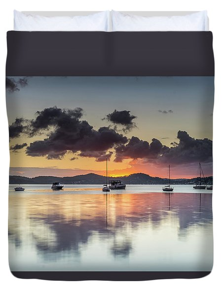 Overcast Morning On The Bay With Boats Duvet Cover