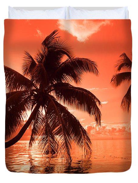 Palm Trees At Sunset, Moorea, Tahiti Duvet Cover