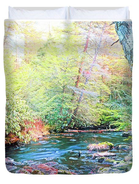 Pocono Mountain Stream, Pennsylvania Duvet Cover