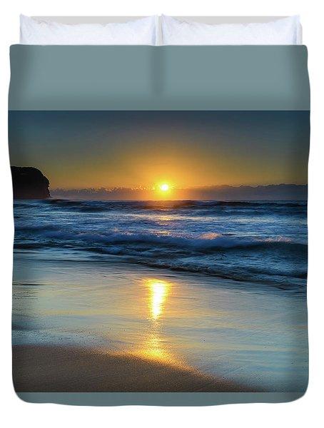 Sunrise Lights Up The Sea Duvet Cover