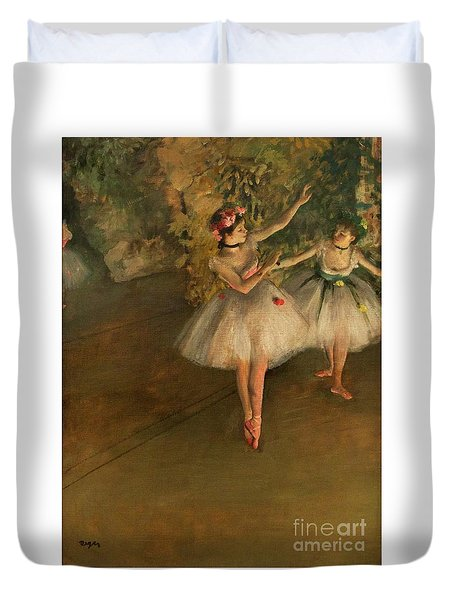 Two Dancers On A Stage Duvet Cover