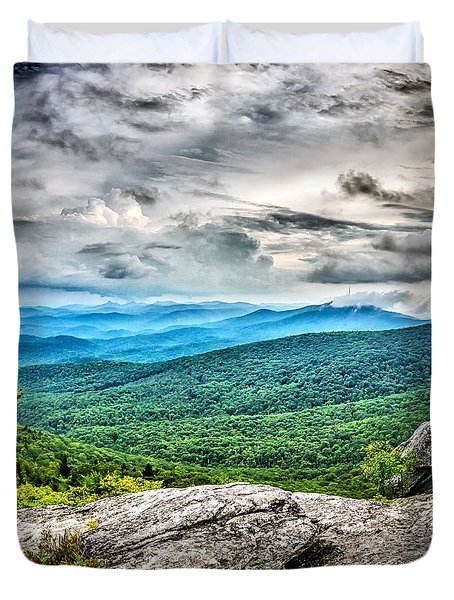 Duvet Cover featuring the photograph Rough Ridge Overlook Viewing Area Off Blue Ridge Parkway Scenery by Alex Grichenko