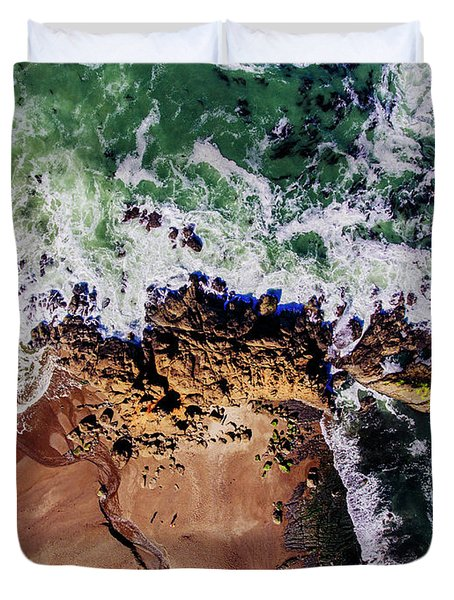 Aerial View Of The Beach, Newport Duvet Cover
