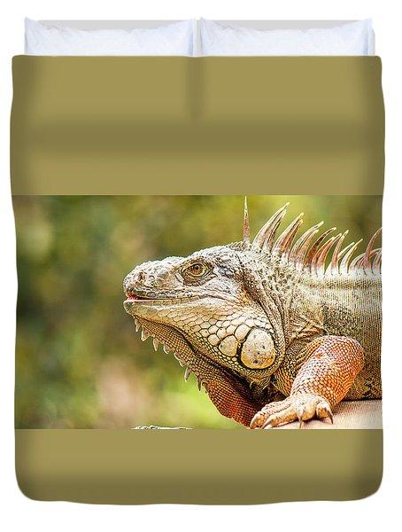 Green Iguana Duvet Cover