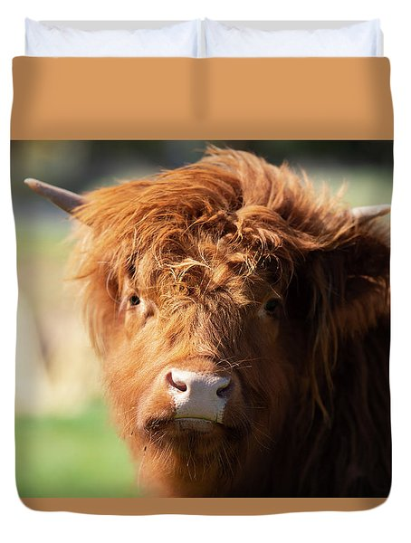 Highland Cow On The Farm Duvet Cover