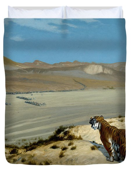 Tiger On The Watch Duvet Cover