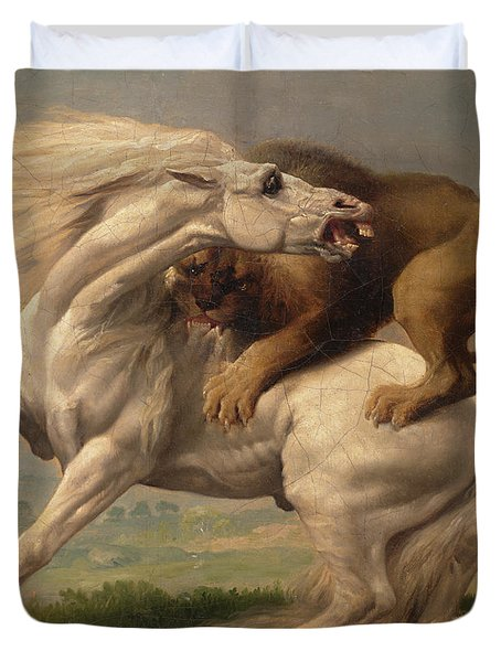 A Lion Attacking A Horse Duvet Cover