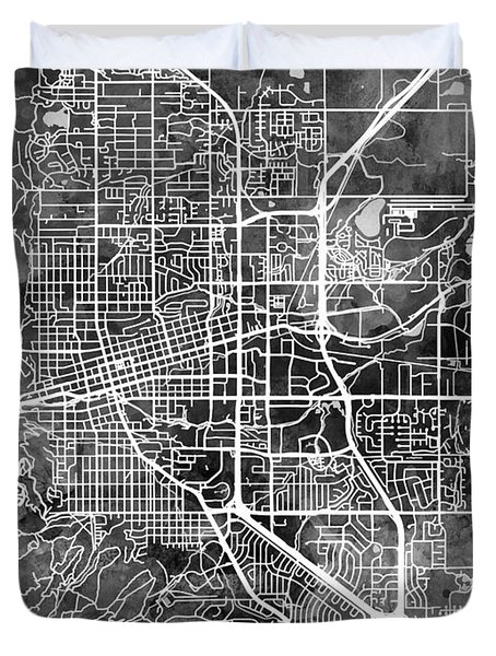 Boulder Colorado City Map Duvet Cover