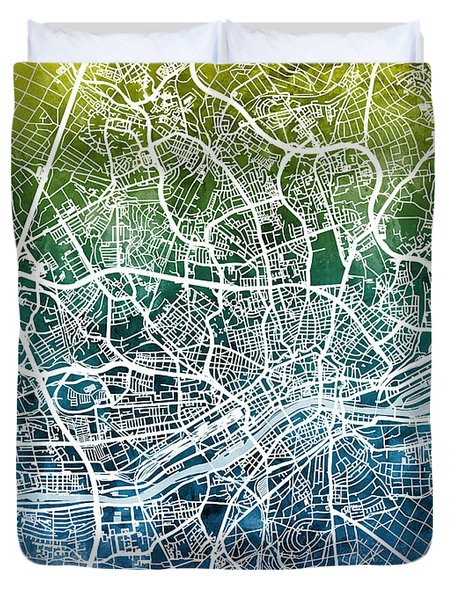 Frankfurt Germany City Map Duvet Cover