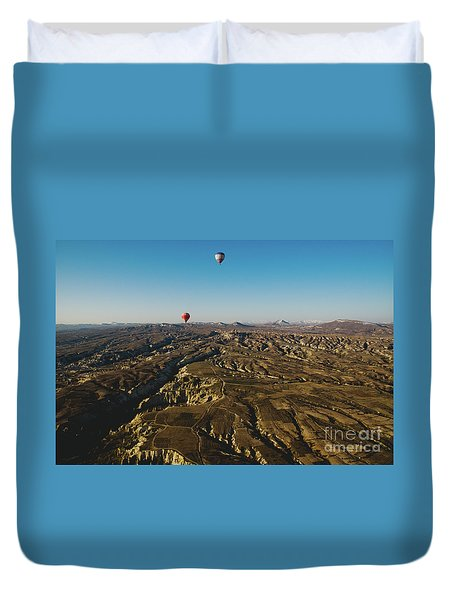 Colorful Balloons Flying Over Mountains And With Blue Sky Duvet Cover