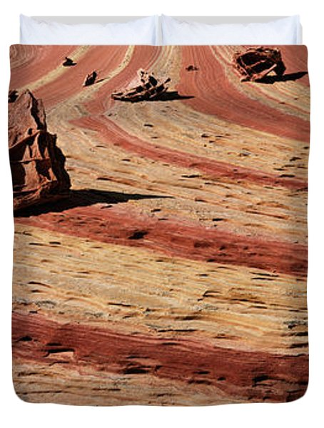 High Angle View Of Rock Formations Duvet Cover