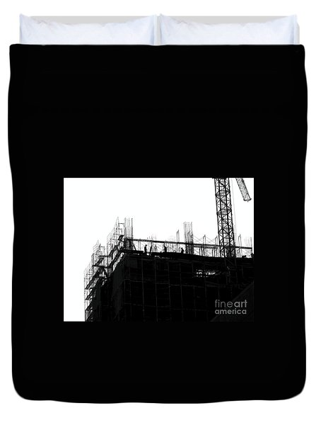 Large Scale Construction In Outline Duvet Cover