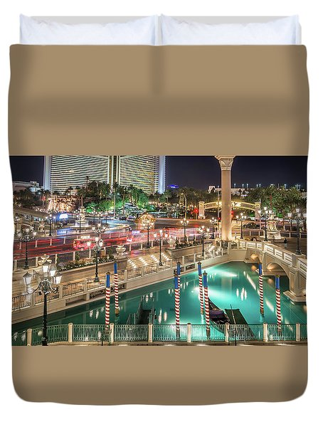 Duvet Cover featuring the photograph View Of The Venetian Hotel Resort And Casino by Alex Grichenko