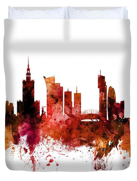 Warsaw Poland Skyline Duvet Cover
