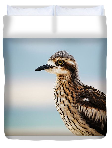 Duvet Cover featuring the photograph Bush Stone-curlew Resting On The Beach. by Rob D