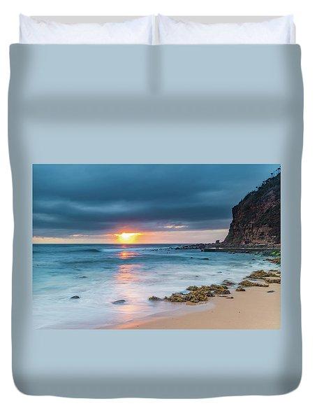 Sunrise Seascape And Cloudy Sky Duvet Cover