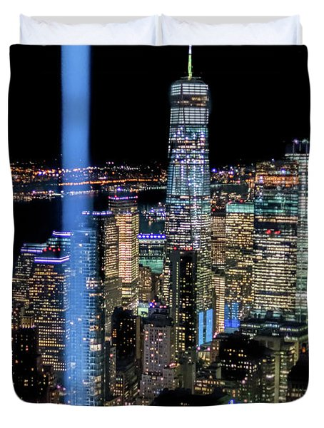 911 Lights Duvet Cover