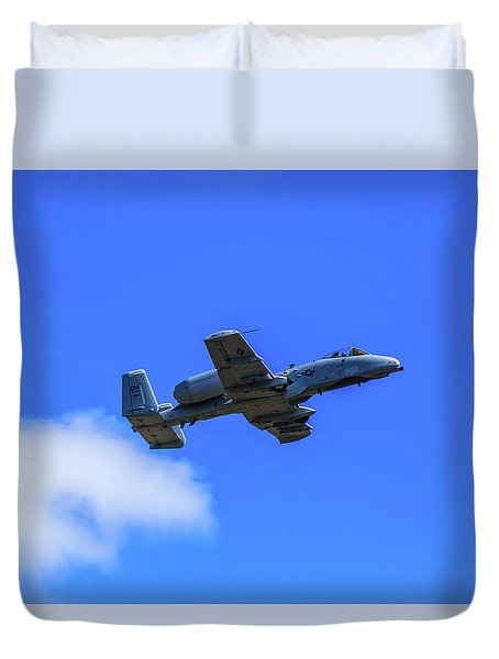 Duvet Cover featuring the photograph A-10c Thunderbolt II In Flight by Doug Camara