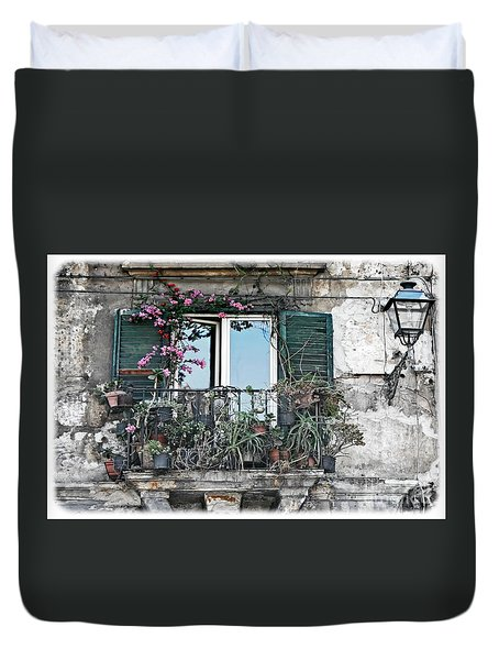 A Balcony In Palermo Duvet Cover