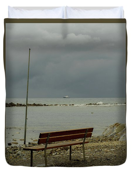 A Bench On Which To Expect, By The Sea Duvet Cover