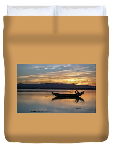 Duvet Cover featuring the photograph A Boat by Bruno Rosa