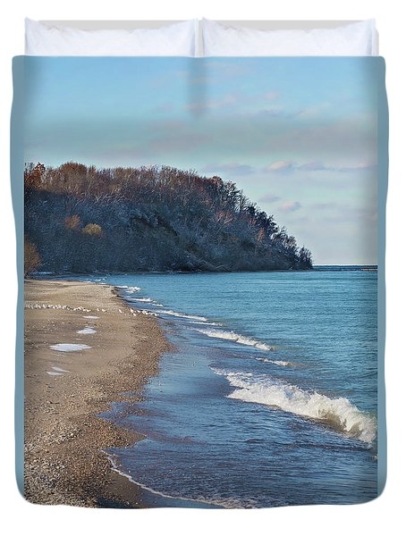 Duvet Cover featuring the photograph A Brisk Morning by Kim Hojnacki
