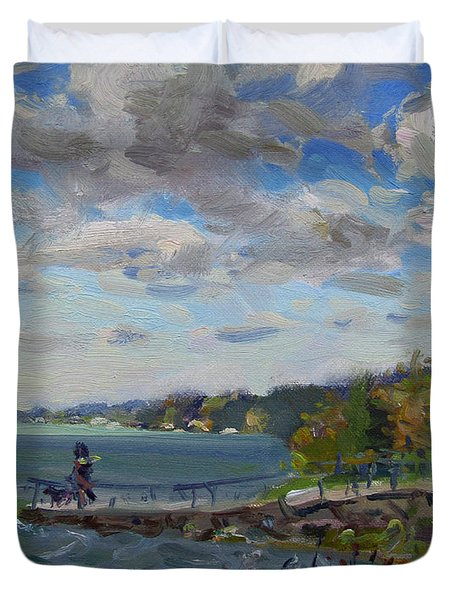 A Cloudy Day At Gratwick Park Duvet Cover
