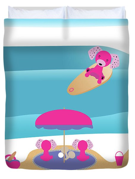 A Dog Family Surf Day Out Duvet Cover