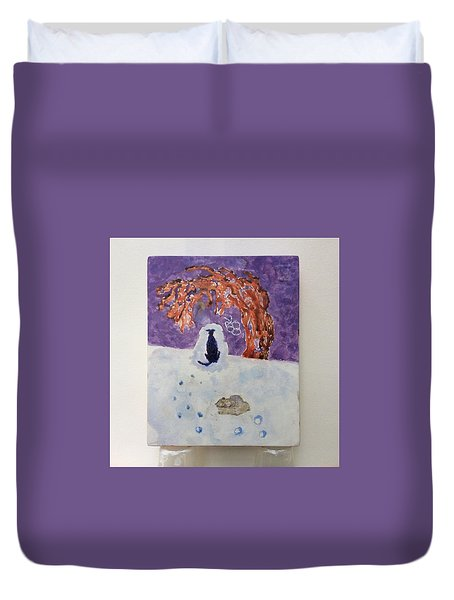 A Dog Named Novak At Home In Heaven Duvet Cover