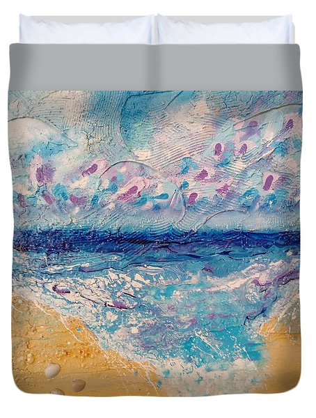 Duvet Cover featuring the painting A Drop In The Ocean by Tracy Bonin