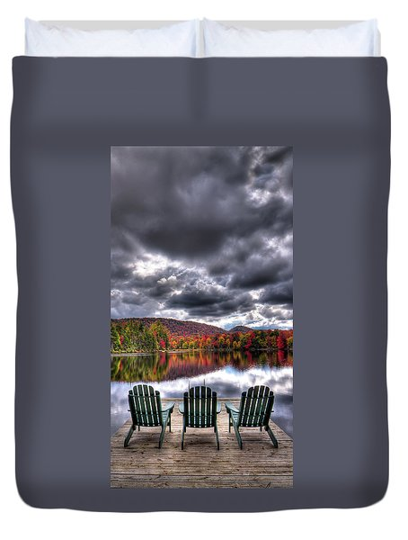 Duvet Cover featuring the photograph A Fall Day On West Lake by David Patterson