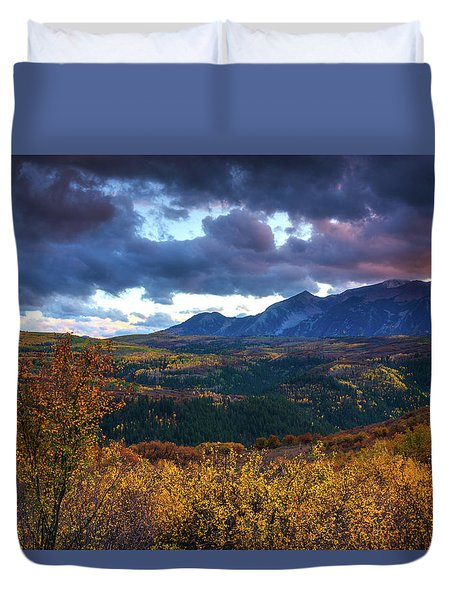 A Fall Sunset In Colorado Duvet Cover
