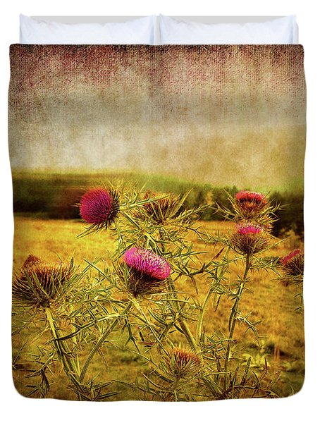 Duvet Cover featuring the photograph A Field Covered With Mist by Milena Ilieva