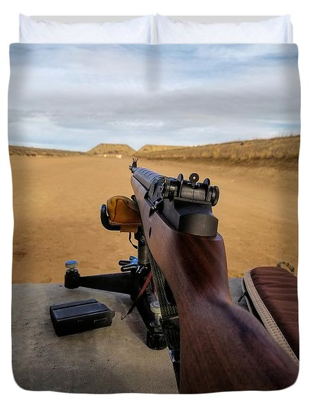 Duvet Cover featuring the photograph A Fine Day At The Range by Jon Burch Photography