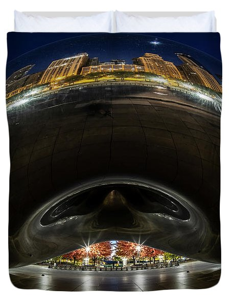 A Fisheye Perspective Of Chicago's Bean Duvet Cover