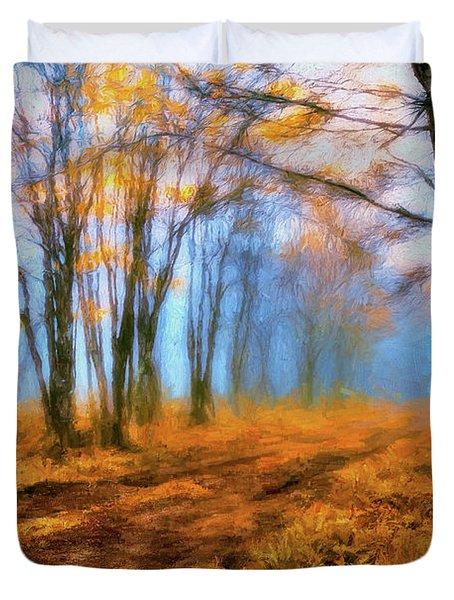 A Foggy Autumn Blue Ridge Morning Ap Duvet Cover