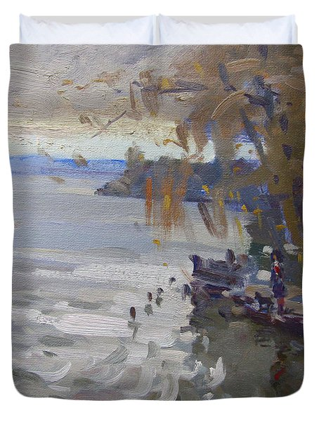 A Gray Fall Day At Fishermans Park Duvet Cover